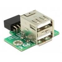Αντάπτορας USB 2.0 9 pin header Θηλυκό σε 2x USB 2.0A Θηλυκό 2.54 mm DELOCK 41429