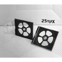 Πλαστική Θήκη για 4 CD/DVD σε διάφανο/μαύρο χρώμα 10.4mm 25τμχ OEM BOX0048