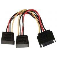 Powertech sata power 15pin Αρσενικό / 2x 15pin fimale 15pin CAB-W012