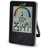 Ψηφιακό θερμόμετρο / υγρόμετρο εσωτερικού χώρου με ρολόι και έγχρωμη απεικόνιση επιπέδου υγρασίας LIFE WES-100