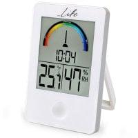 Ψηφιακό θερμόμετρο / υγρόμετρο εσωτερικού χώρου με ρολόι και έγχρωμη απεικόνιση επιπέδου υγρασίας LIFE WES-101