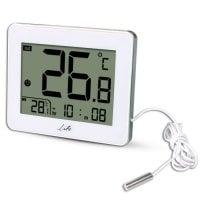 Ψηφιακό θερμόμετρο εσωτερικής και εξωτερικής θερμοκρασίας με ενσύρματο εξωτερικό αισθητήρα και ένδειξη ώρας LIFE WES-202